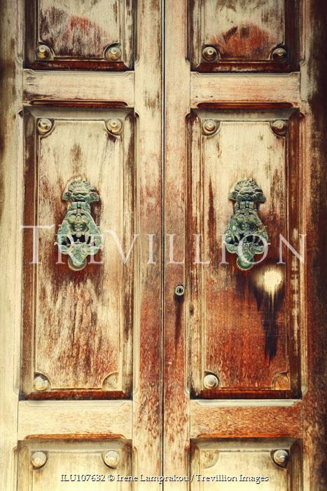 Irene Lamprakou FADED WOODEN DOORS AND METAL KNOCKERS Building Detail