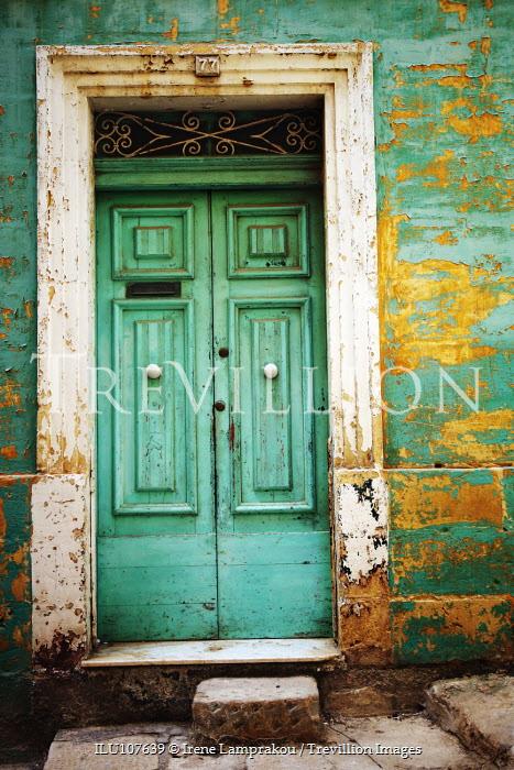 Irene Lamprakou WEATHERED ENTRANCE AND GREEN DOORS Building Detail