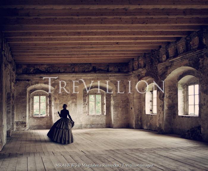 Magdalena Russocka victorian woman dancing in empty ballroom Women