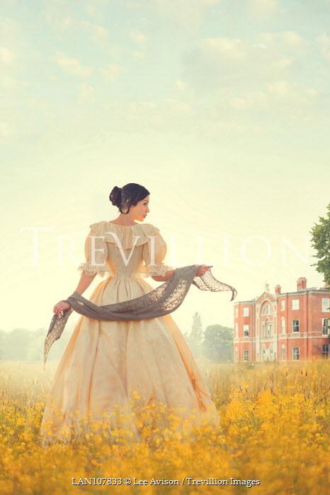 Lee Avison victorian woman in a buttercup meadow Women