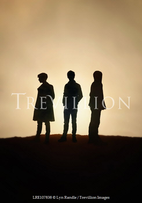 Lyn Randle Silhouettes of three boys outside Groups/Crowds