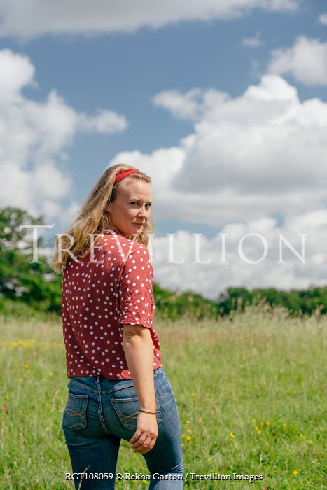 Rekha Garton GIRL IN SPOTTY BLOUSE WALKING IN COUNTRYSIDE Women