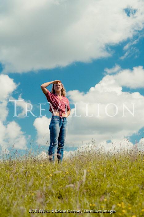 Rekha Garton BLONDE GIRL WATCHING IN SUMMERY FIELD Women