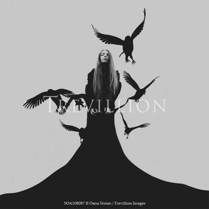 Oana Stoian GIRL IN LONG ROBES WITH SILHOUETTED BIRDS Women