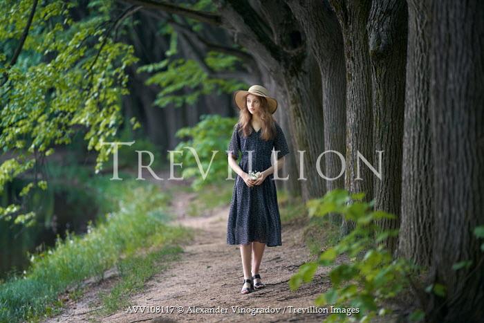 Alexander Vinogradov GIRL IN HAT WALKING BY RIVER Women