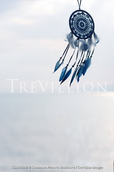 Krasimira Petrova Shishkova blue dream catcher on blue sky Miscellaneous Objects
