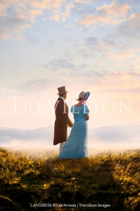 Lee Avison regency couple on the moors watching the sunset