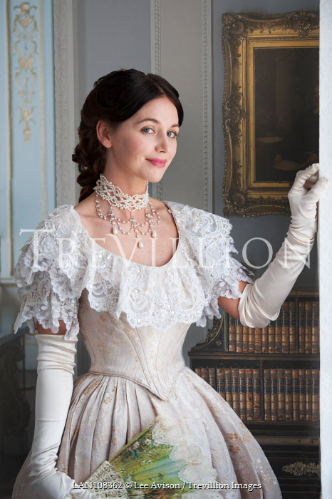 Lee Avison smiling victorian lady in evening dress