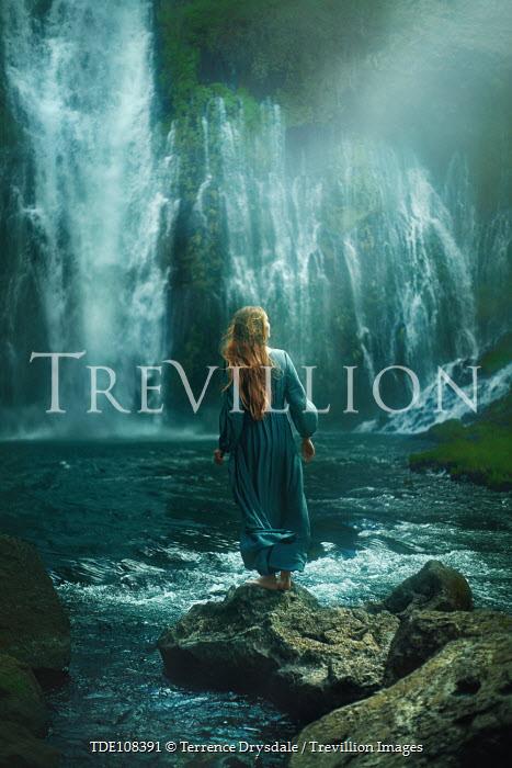 Terrence Drysdale Woman stood below waterfall Women
