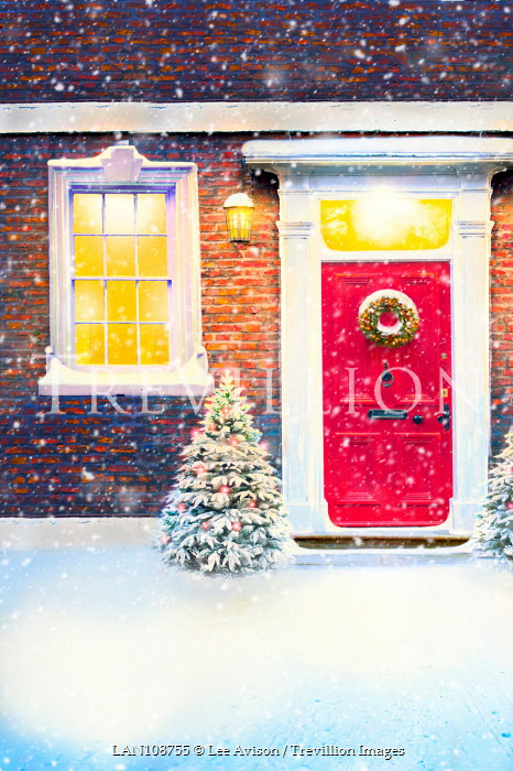 Lee Avison DOOR WITH CHRISTMAS WREATH AND TREES IN SNOW Houses