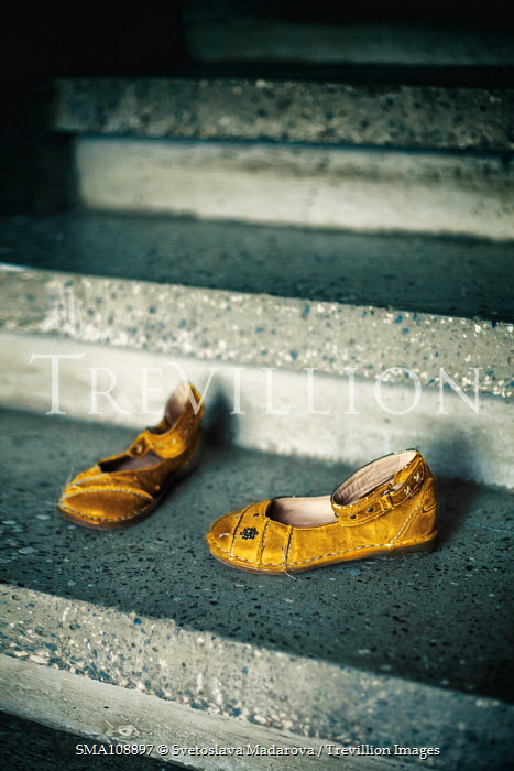 Svetoslava Madarova Children's shoes on concrete steps Flowers