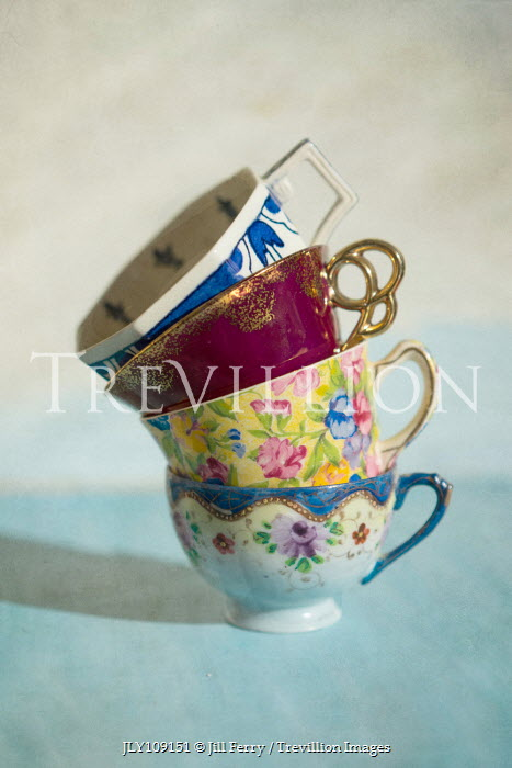 Jill Ferry STACK OF COLOURFUL RETRO TEACUPS Miscellaneous Objects