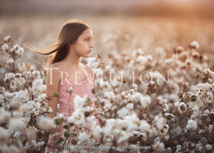 Lisa Holloway YOUNG BRUNETTE GIRL STANDING IN COTTON FIELD Women