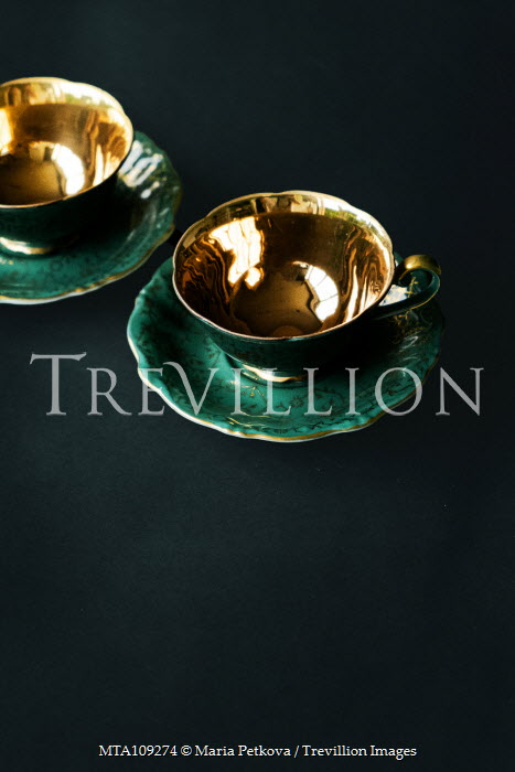 Maria Petkova green and golden teacups and saucers Miscellaneous Objects