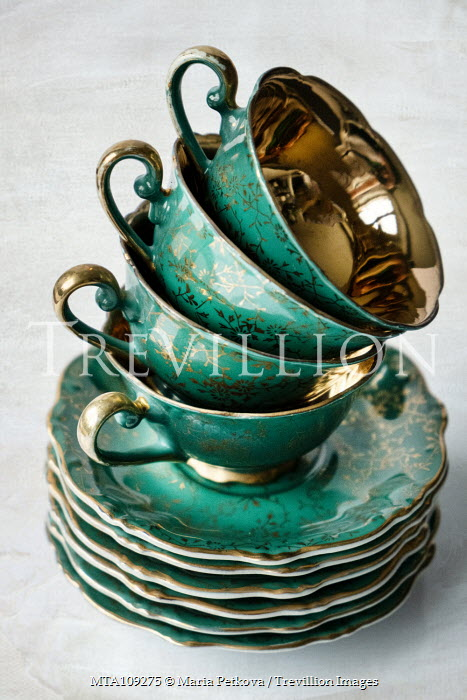 Maria Petkova stack of china cups and saucers Miscellaneous Objects