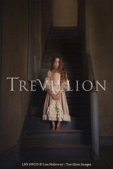 Lisa Holloway HISTORICAL GIRL STANDING ON STAIRCASE INDOORS Children