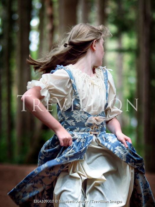 Elisabeth Ansley SCARED HISTORICAL GIRL RUNNING IN FOREST Children