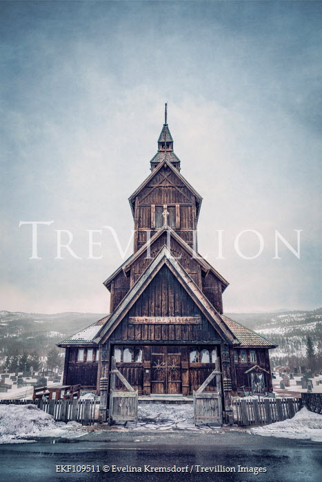 Evelina Kremsdorf Wooden church in snowy mountains Miscellaneous Buildings