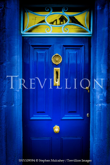 Stephen Mulcahey Blue front door with ornate window Building Detail