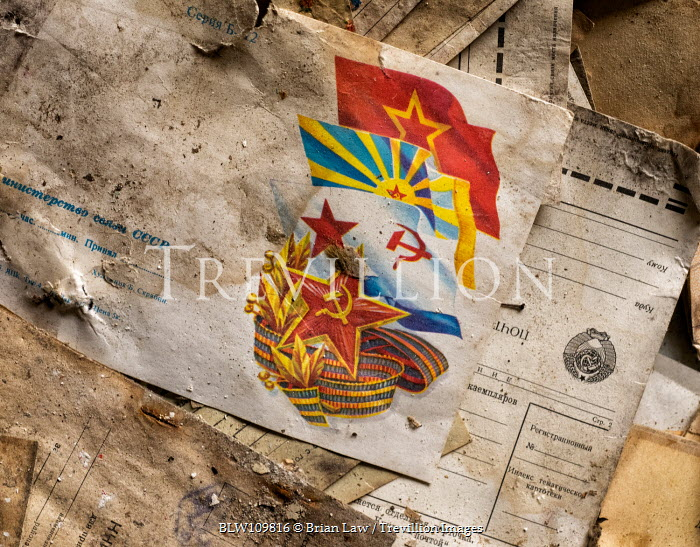 Brian Law Papers and communist flags document Miscellaneous Objects