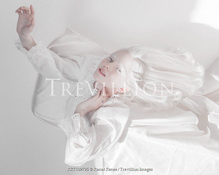 Ranat Renee GIRL WITH WHITE HAIR LYING ON BED Women
