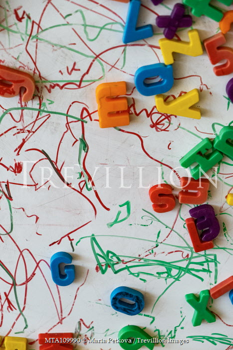 Maria Petkova PLASTIC TOY LETTERS WITH SCRIBBLES ON BOARD Miscellaneous Objects