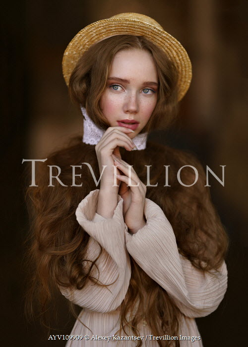 Alexey Kazantsev Redhead girl with straw hat Women