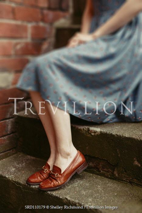 Shelley Richmond RETRO WOMAN SITTING ON STEPS OUTDOORS Women
