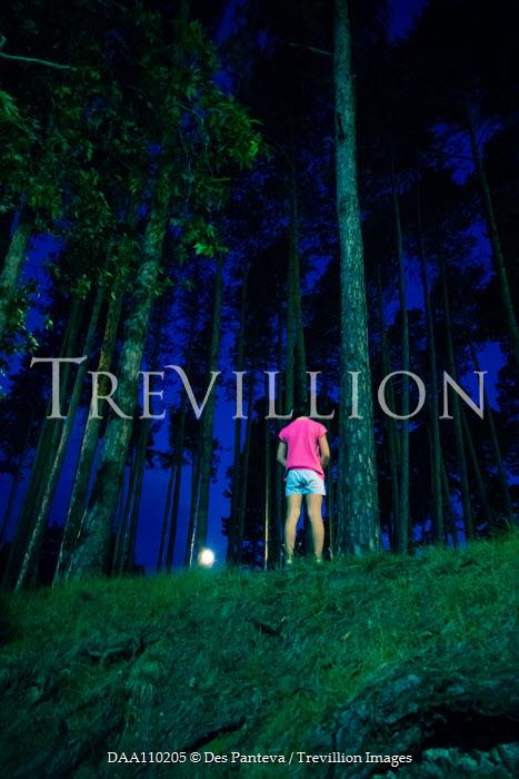 Des Panteva GIRL STANDING IN FOREST AT NIGHT Children