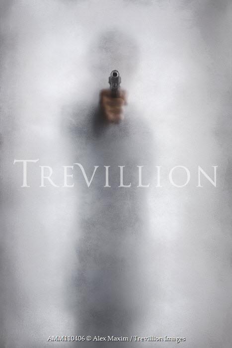 Alex Maxim blurred man in silhouette pointing a gun behind hazy glass