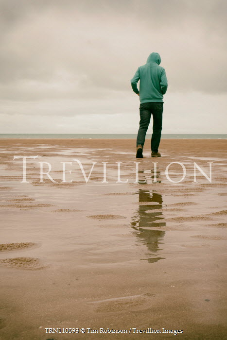 Tim Robinson Man in green hoodie on beach Men