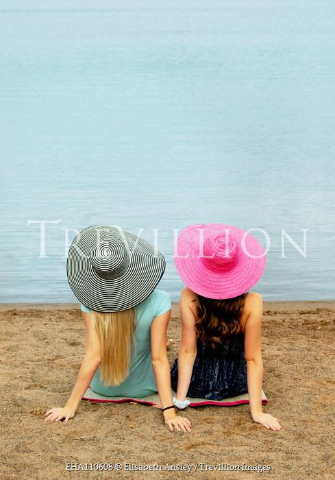 Elisabeth Ansley TWO WOMEN SITTING ON SANDY BEACH Women