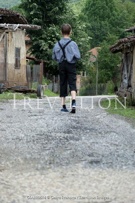 Galya Ivanova RETRO BOY WALKING ON ROAD Children
