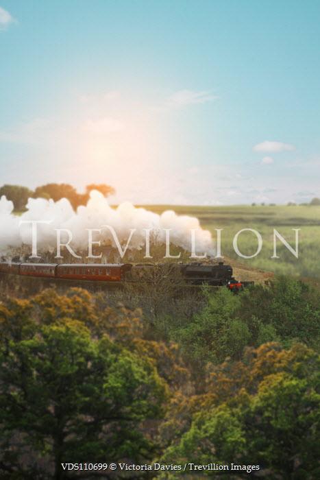 Victoria Davies STEAM TRAIN MOVING THROUGH COUNTRYSIDE Railways/Trains
