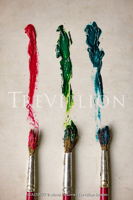 Maria Petkova THREE PAINTBRUSHES AND PAINT FROM ABOVE Miscellaneous Objects