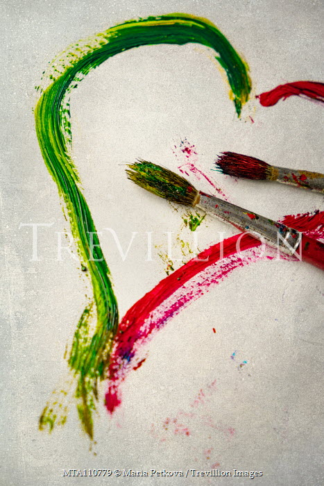 Maria Petkova TWO PAINTBRUSHES WITH PAINTED HEART Miscellaneous Objects