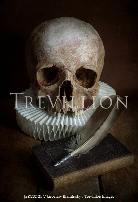 Jaroslaw Blaminsky SKULL WITH RUFF BOOK AND QUILL Miscellaneous Objects