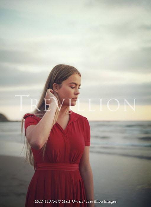 Mark Owen GIRL IN RED DRESS ON BEACH AT DUSK Women
