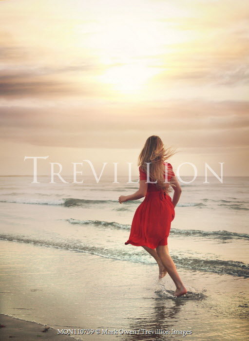 Mark Owen BAREFOOT GIRL IN RED RUNNING IN SEA Women
