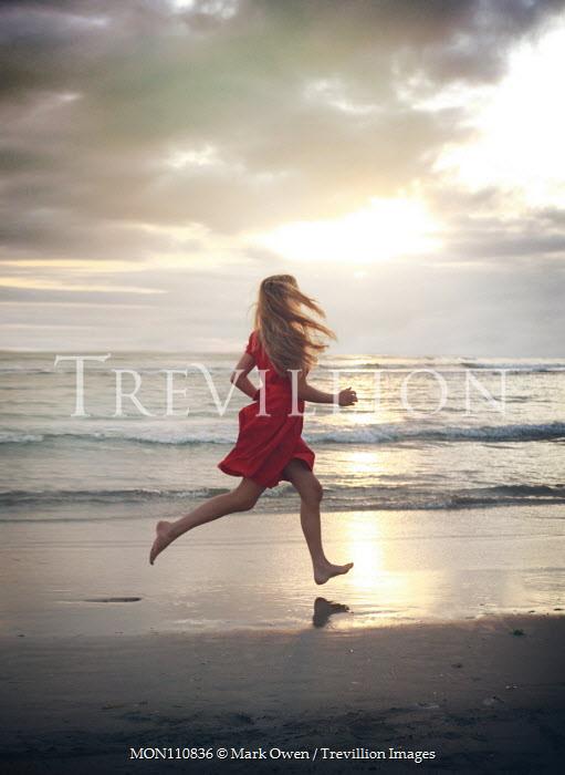 Mark Owen BLONDE BAREFOOT WOMAN RUNNING IN SEA Women