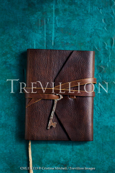 Cristina Mitchell LEATHER NOTEBOOK TIED WITH RUSTY KEY Miscellaneous Objects