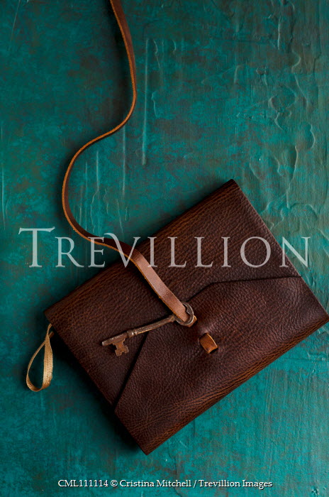 Cristina Mitchell LEATHER NOTEBOOK WITH RUSTY KEY Miscellaneous Objects