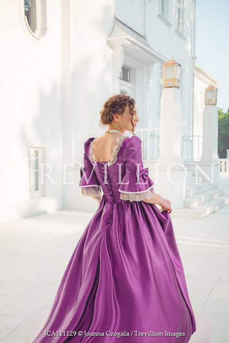 Joanna Czogala HISTORICAL WOMAN IN PURPLE OUTSIDE GRAND HOUSE Women