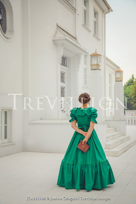Joanna Czogala HISTORICAL WOMAN WITH BOOK OUTSIDE GRAND HOUSE Women