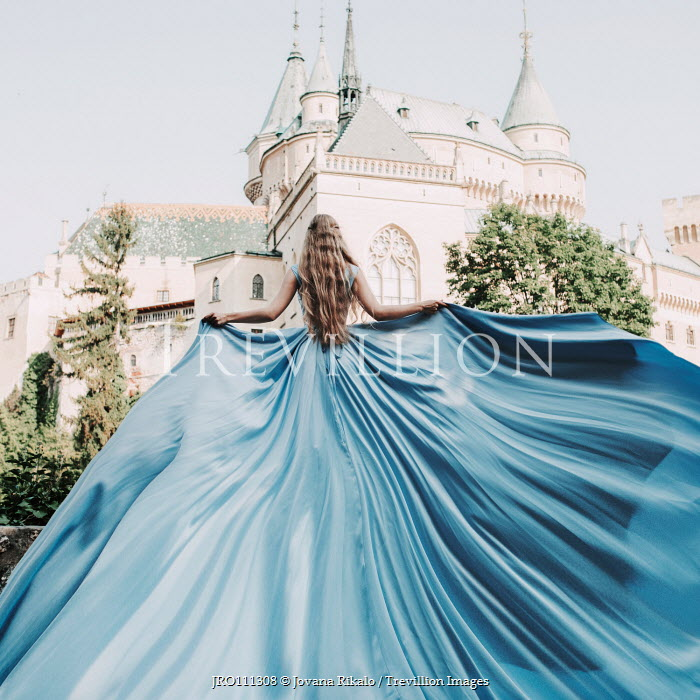 Jovana Rikalo GIRL IN FLOWING GOWN WATCHING PALACE Women