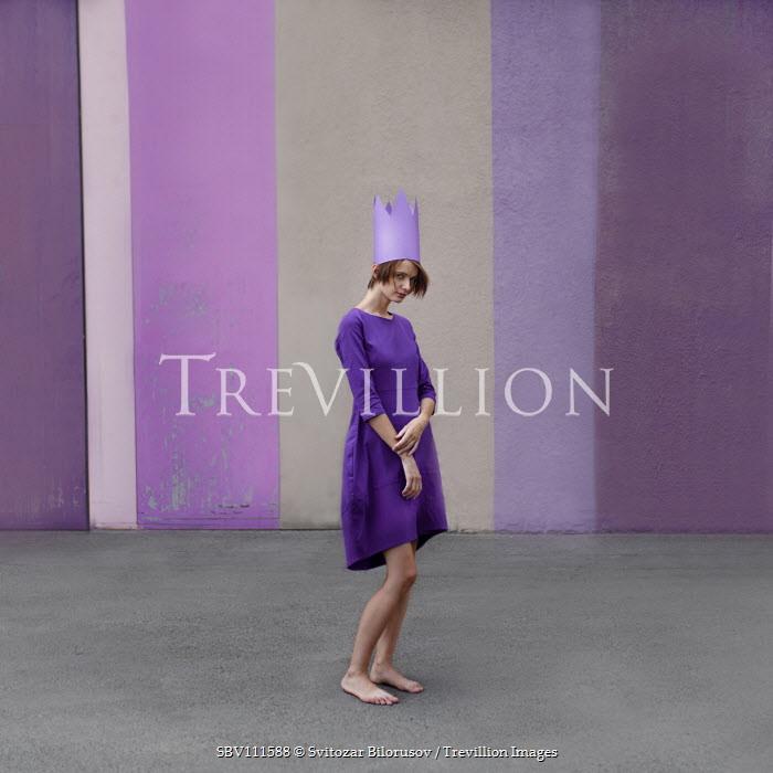 Svitozar Bilorusov Young woman in purple dress and paper crown