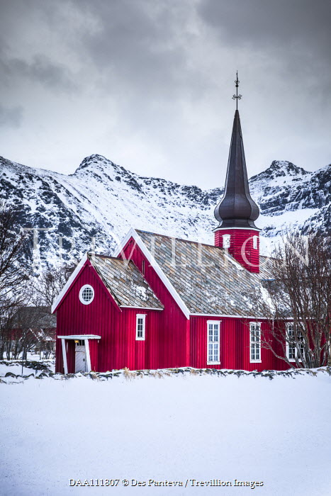 Des Panteva CHURCH WITH SPIRE BY SNOWY MOUNTAINS Religious Buildings