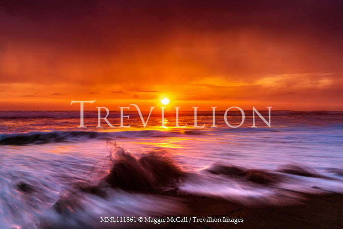 Maggie McCall FOAMY WAVES ON BEACH AT SUNSET Seascapes/Beaches