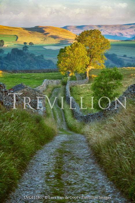 Lars van de Goor Path through hills of Yorkshire with drystone walls