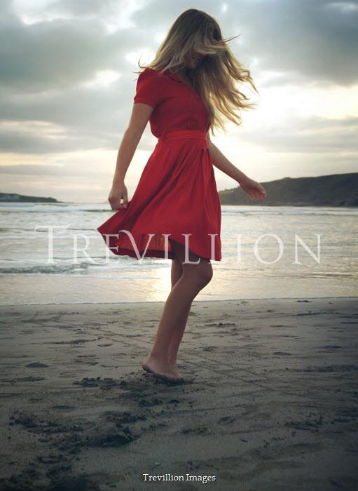 Mark Owen BLONDE GIRL IN RED DANCING ON BEACH Women